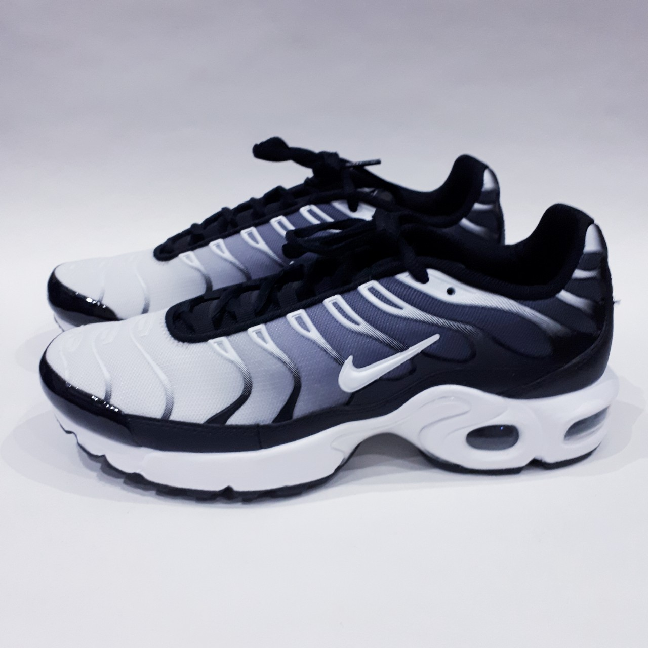 BlackWhite Silver Nike Air Max Plus Older Kids Size Depop