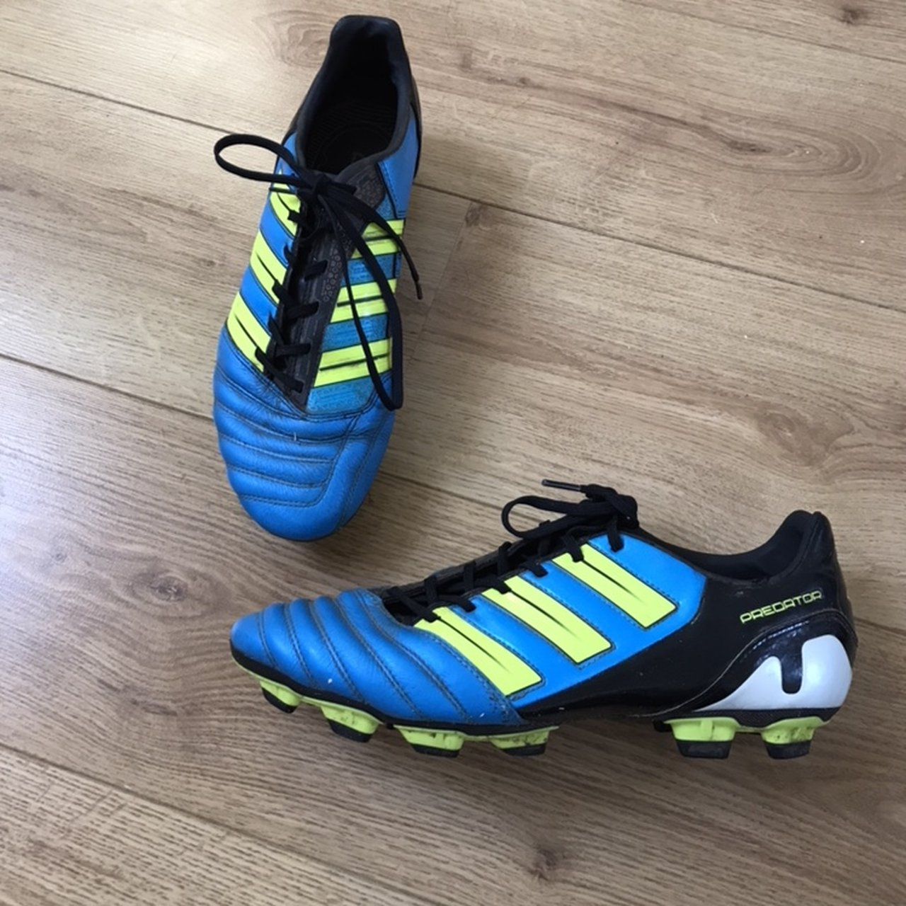 80f93797c548 @mirandalockhart. 4 months ago. Nuneaton, United Kingdom. Adidas Predator  blue and fluorescent yellow ...