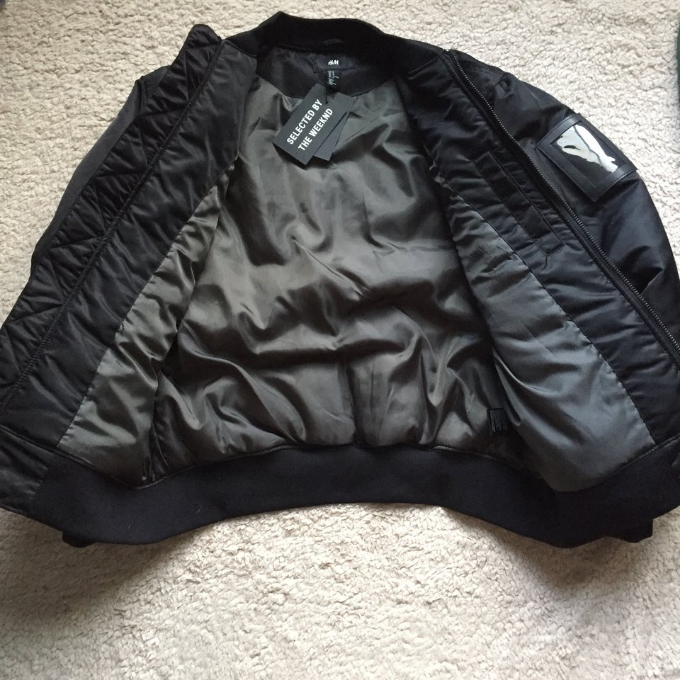 f95f9a85b H&M x The Weeknd Collab Bomber Jacket in Black with... - Depop