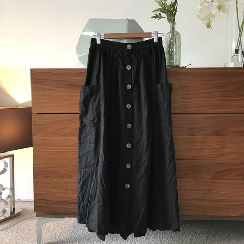 7e4e37989f @estherwalterz. 9 months ago. London, United Kingdom. Urban Outfitters  women's button up black linen maxi skirt ...
