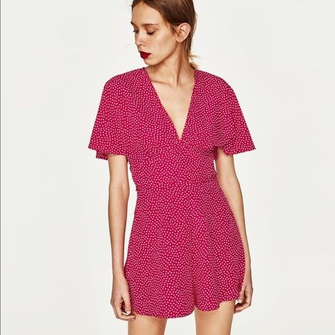 e4ea2b074eca Zara pink polka dot playsuit with white dots. Brand new with - Depop