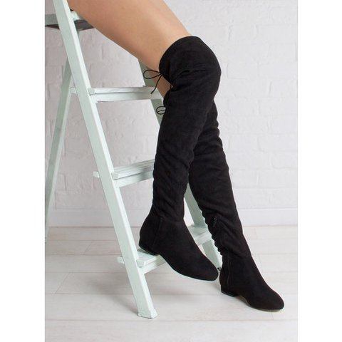 c7d5f05017 @poisunberry. 8 months ago. Fountain Valley, United States. Simmi London  Samira Black Suede Flat Over Knee Boots