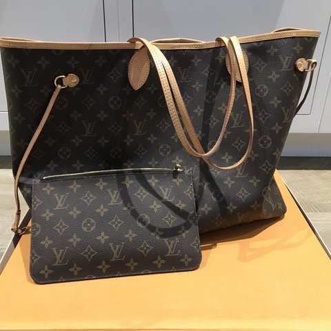 1e92f5627bf7 Louis Vuitton neverfull gm large leather beige with proof a - Depop