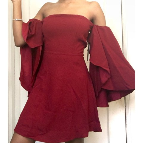 27c210d94812 Cute burgundy off the shoulder dress with trumpet sleeves xs - Depop