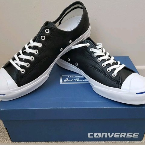 12a6ca946d98 CONVERSE Jack Purcell Signature Ox Leather Black  White Low - Depop