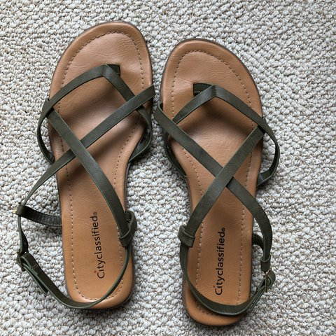 f3beb6c1505d40 Army green strappy sandals! Worn only once Super cute and - Depop