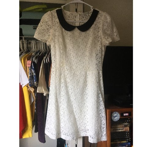 Forever 21 White Lace Dress With Black Peter Pan Collar But Depop
