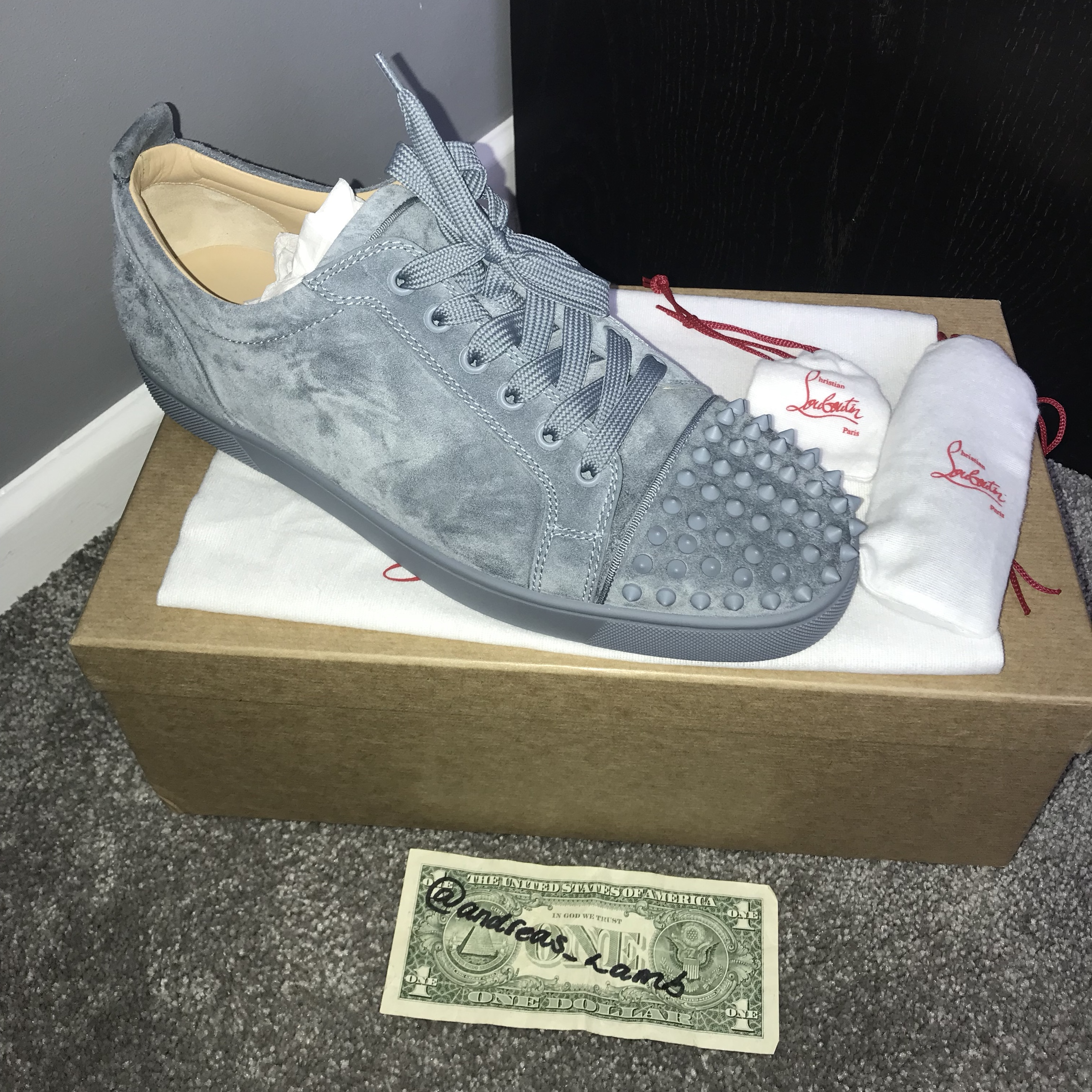 online store f2eb8 0b392 Christian Louboutin Louis junior spikes - grey/blue... - Depop