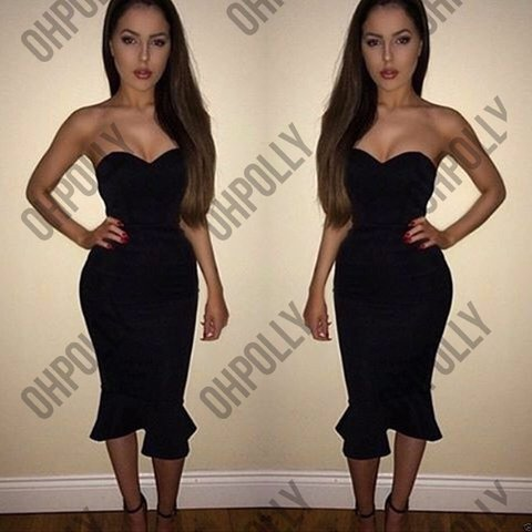 ec020bc449bf1 Black Strapless Fishtail Midi Dress – Little Black Dress | Black ...