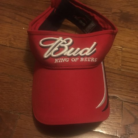4dc715860c830 Bud king of beers visor hat. Red with white writing