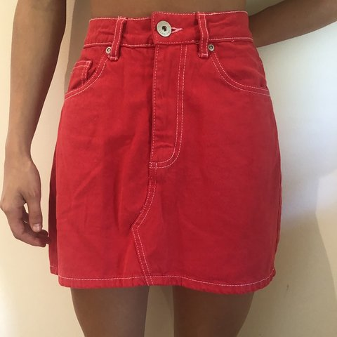74e5302df0 Red denim mini skirt, never worn size 8 would fit a small 10 - Depop