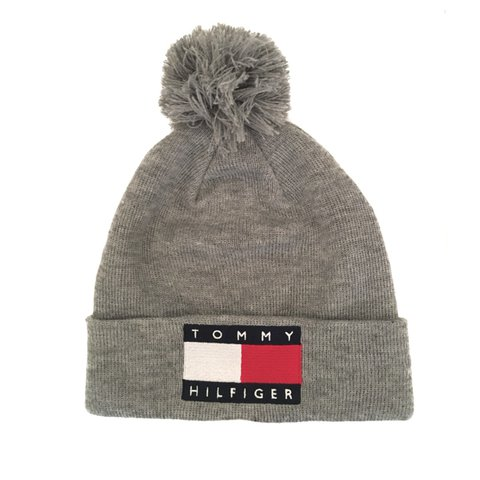 9d7d8be361a TOMMY HILFIGER GREY BEANIE HAT - Grey Tommy Hilfiger hat - - Depop