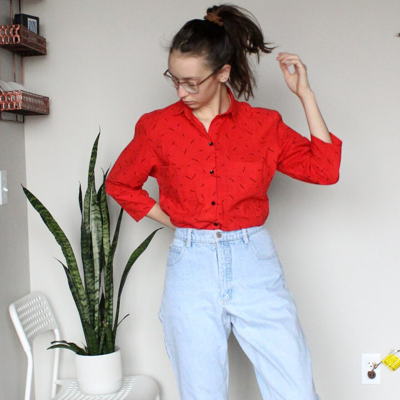 b404dab7 Vintage navy blue button down blouse. Very cute and in great - Depop