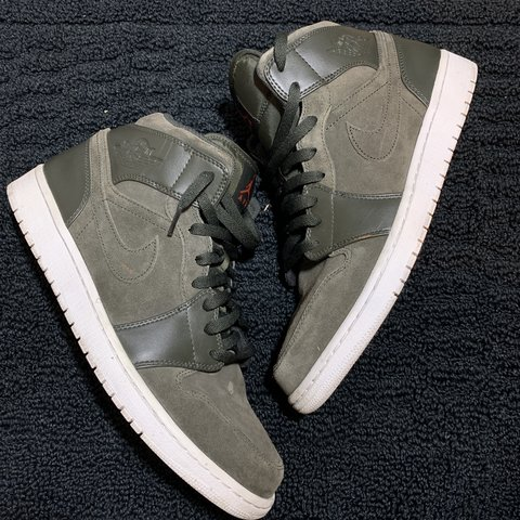 c569f077e26 JORDAN 1 olive green suede on deep green leather. official a - Depop