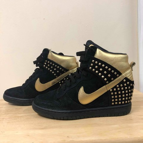 sports shoes 0b00f 48a6e  elsellsmore. last year. New York, United States. Nike Dunk Sky Hi Wedge  Studs QS Metallic Gold Black Women Size 7 Shoes Sneakers