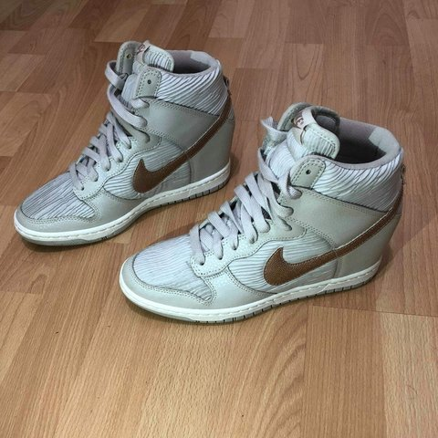 official photos be4a6 3f442  elsellsmore. FollowingFollow. 2 hours ago. Staten Island, New York,  Richmond County, United States. Nike Dunk Sky Hi Wedge White Rose Gold Women  ...