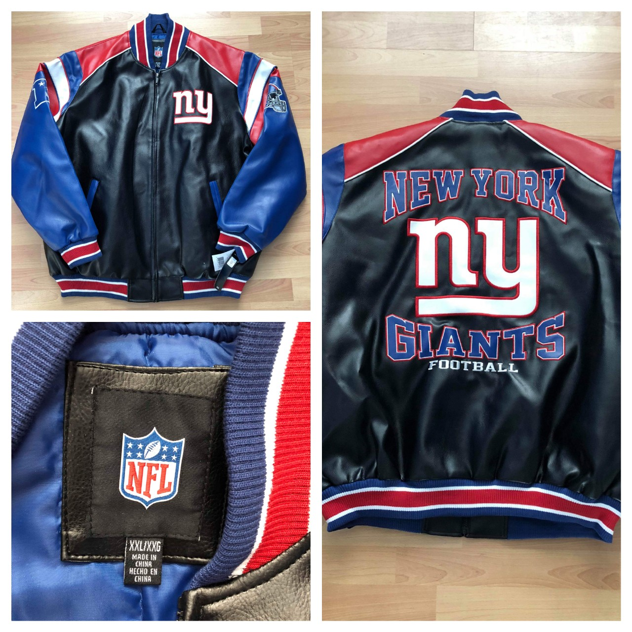 finest selection 9d874 75310 New NFL New York Giants Football Faux Leather Jacket ...