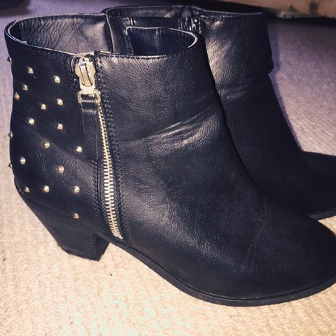 567112f83fb0 Office Studded black leather ankle boot. Small heel. Hardly - Depop