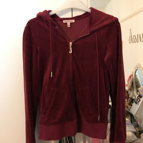 f1380c42e8ac Burgundy red velour juicy couture tracksuit top with J size - Depop