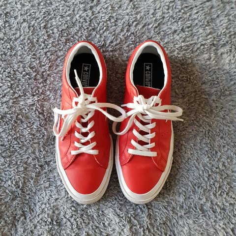 f3de7686b971 Converse One Star Ox All Star Casino white Red leather Mens - Depop