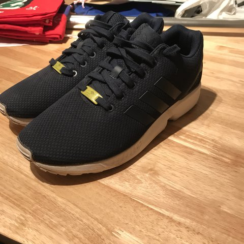 6cae7041150a3 📍Adidas Zx Flux Navy and White • 8 10 Condition • Nothing - Depop