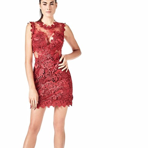 c825c4e7740 Worn once GUESS red lace dress💋 Size S-M Bought originally - Depop