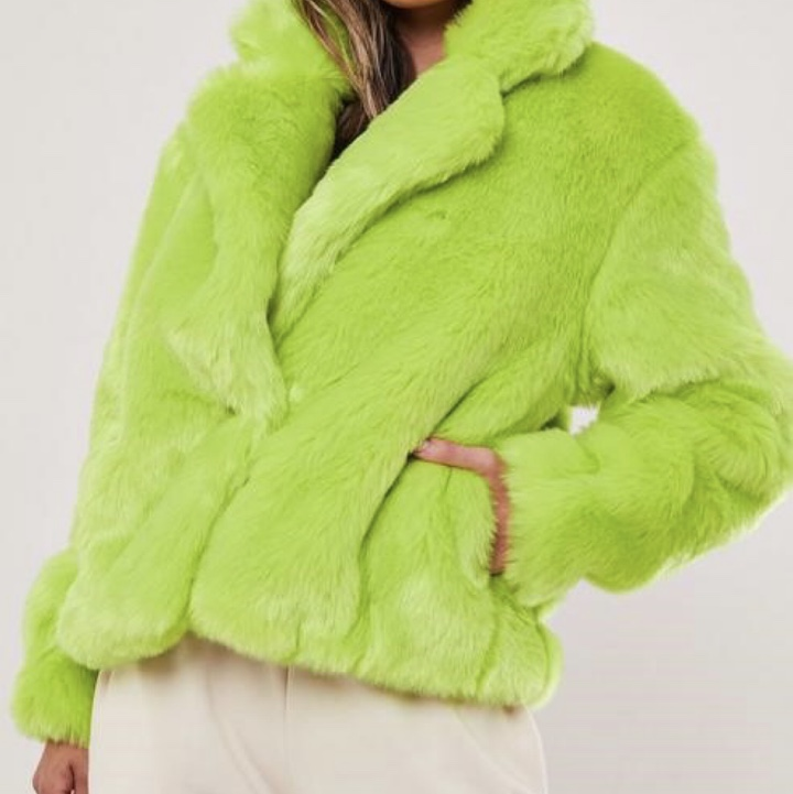 Neon green faux fur jacket, worn handful of times Depop