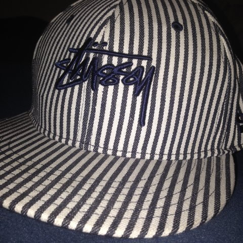 27ef620a8e3d5 Stussy flat cap Navy blue and white One size Brand new - Depop