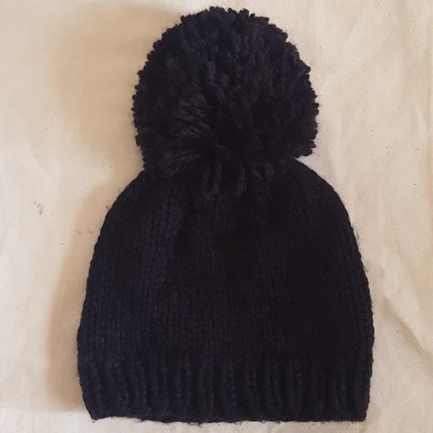 ec90e7187e3 Giant pompom booble black woolly knitted hat beanie. ASOS - Depop