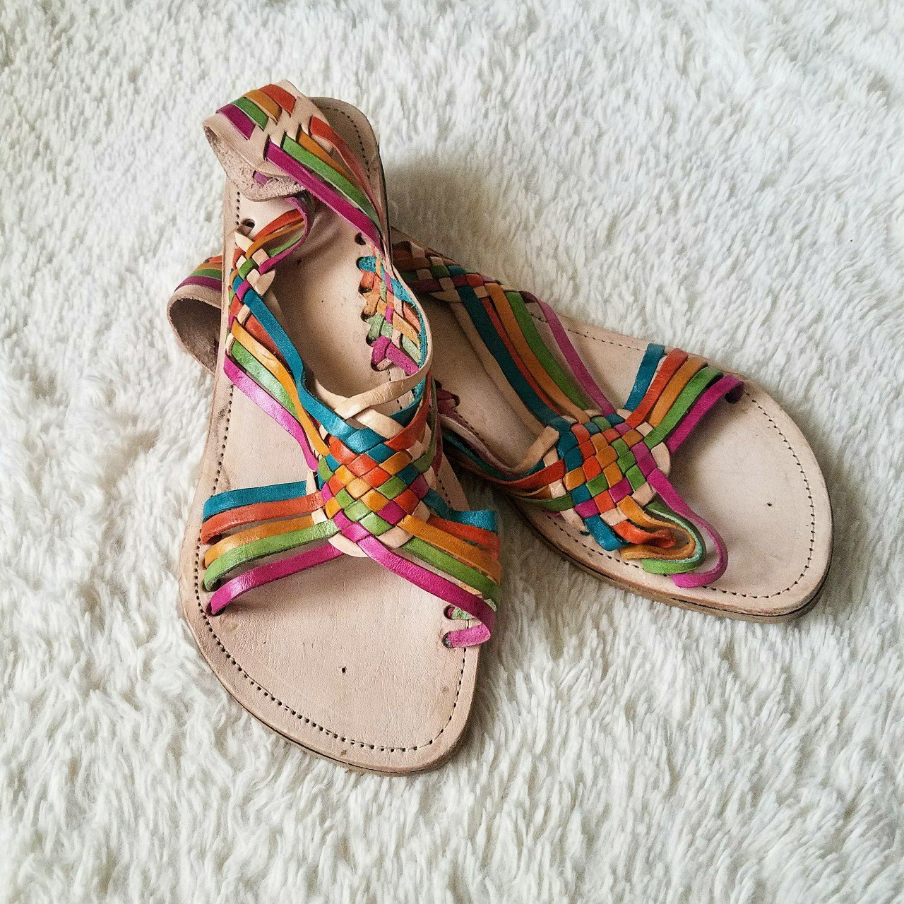 df1f38a3a00a46 Rainbow huaraches sandals brand new