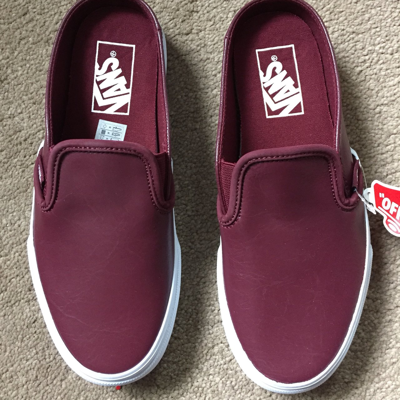 e556fb6eb8 Vans classic slip on leather mule. Size 6.5. Color  port new - Depop
