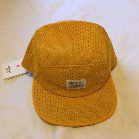 932eec7c801 BNWT Norse Projects 5 Panel Yellow Mesh Baseball Cap. This - Depop