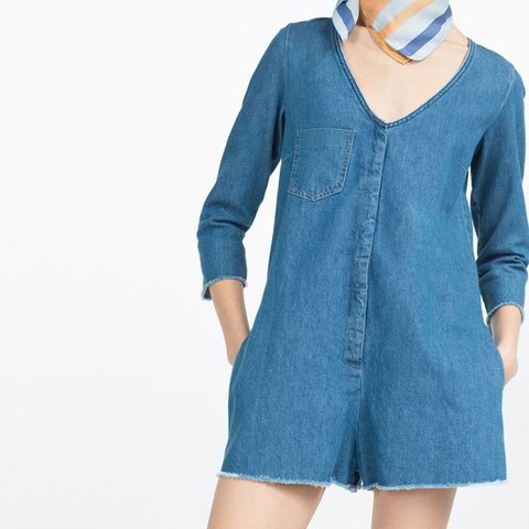 c0372cf653f Zara short denim romper   jumpsuit   playsuit with v neck. - Depop