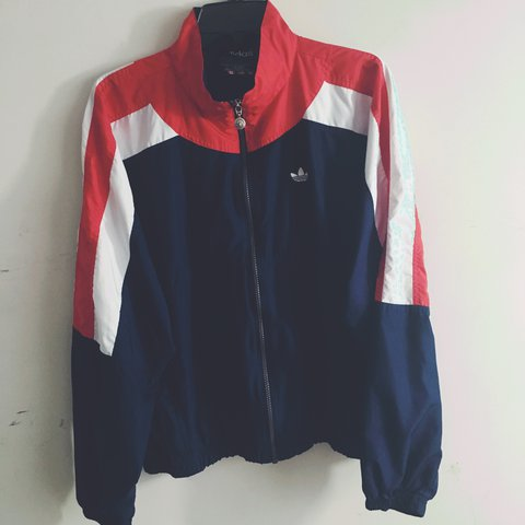 red and blue vintage adidas bomber jacket