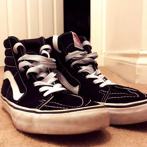 a8e39cf35cb WORN pair of Vans black suede skater lace-up shoes. These a - Depop