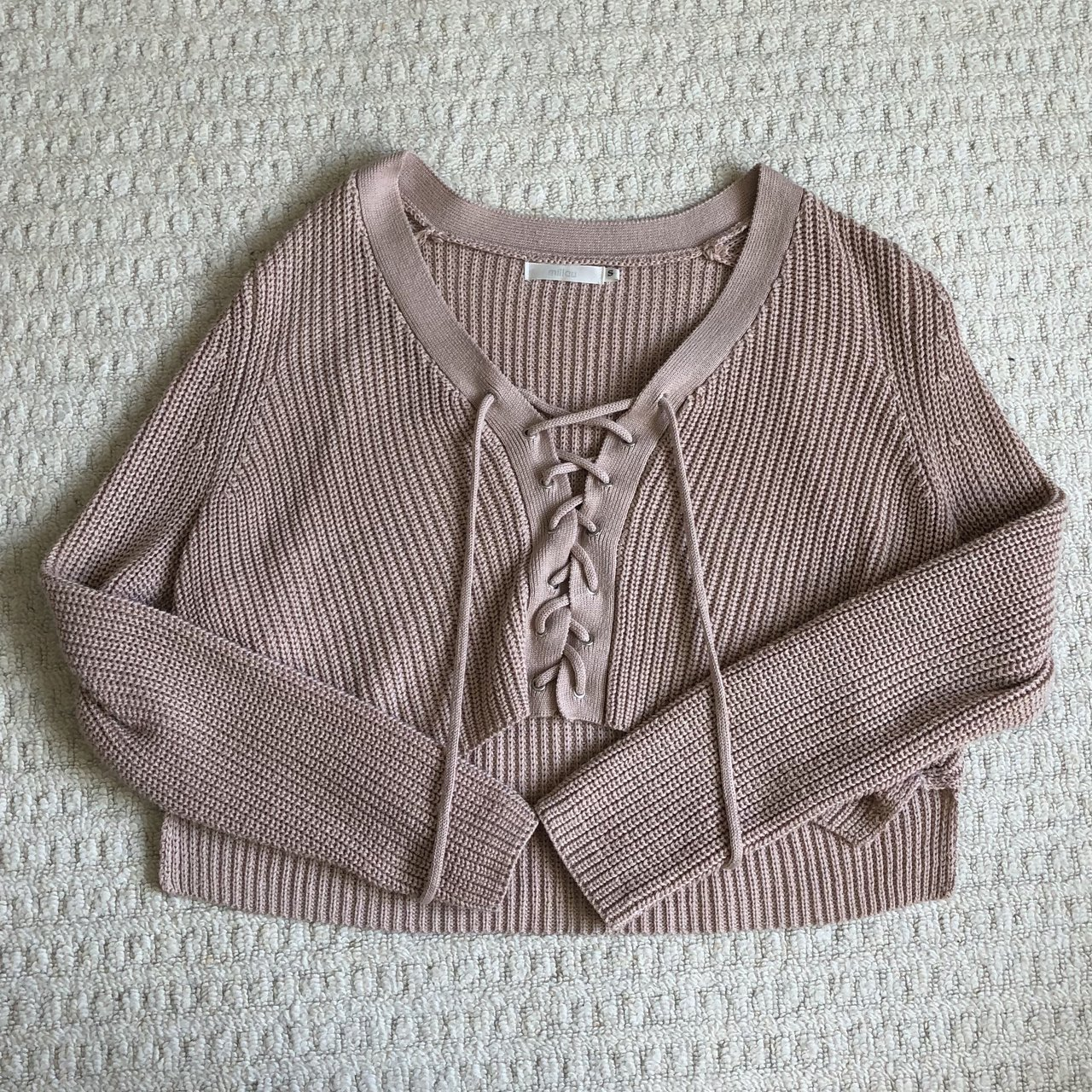 7a7881a047 Lf lace up cropped sweater in rose color. Originally  138. I - Depop
