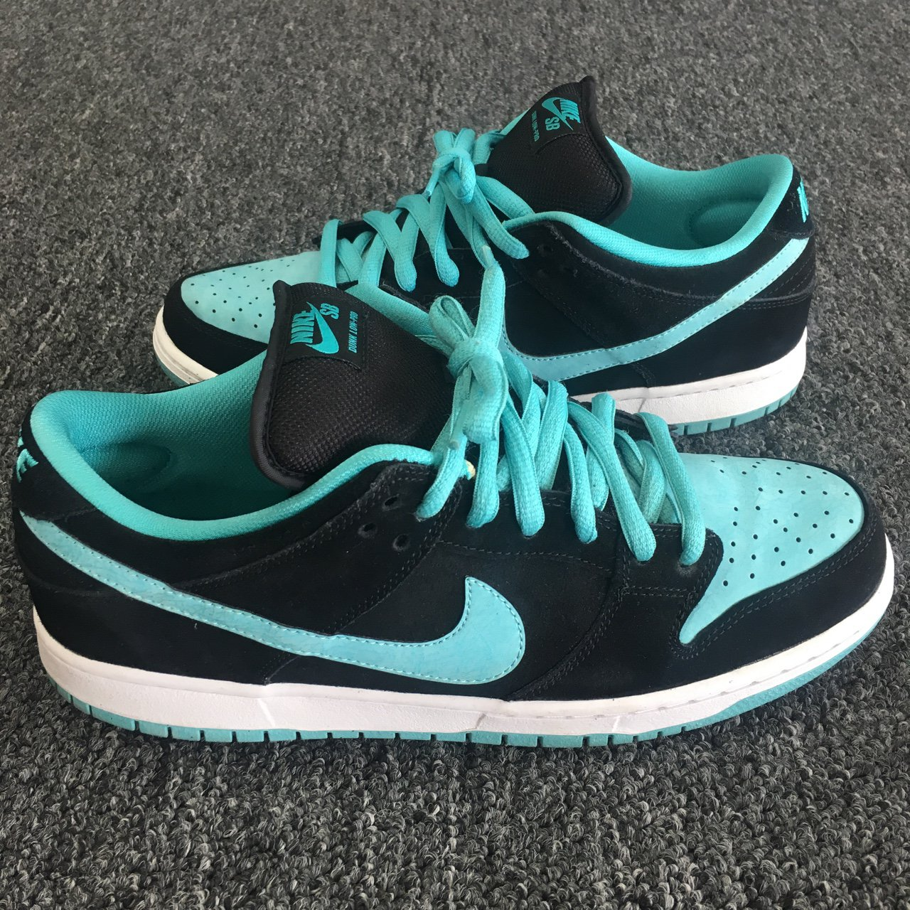 Nike SB Dunk low pro black clear jade white 2013. Lightly on - Depop 20b2bade8e