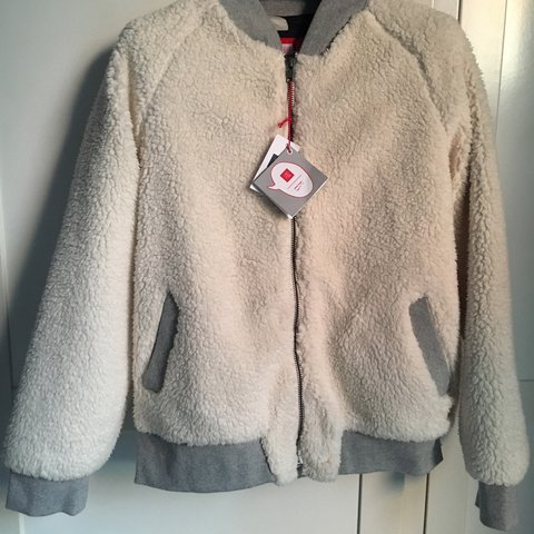 Gap Cream And Grey Teddy Bomber Jacket Age 14 16 But Would Depop