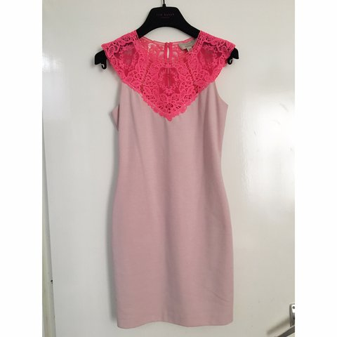 2510bb659 Beautiful Ted Baker  violina  pink lace dress. Size 1 (fits - Depop