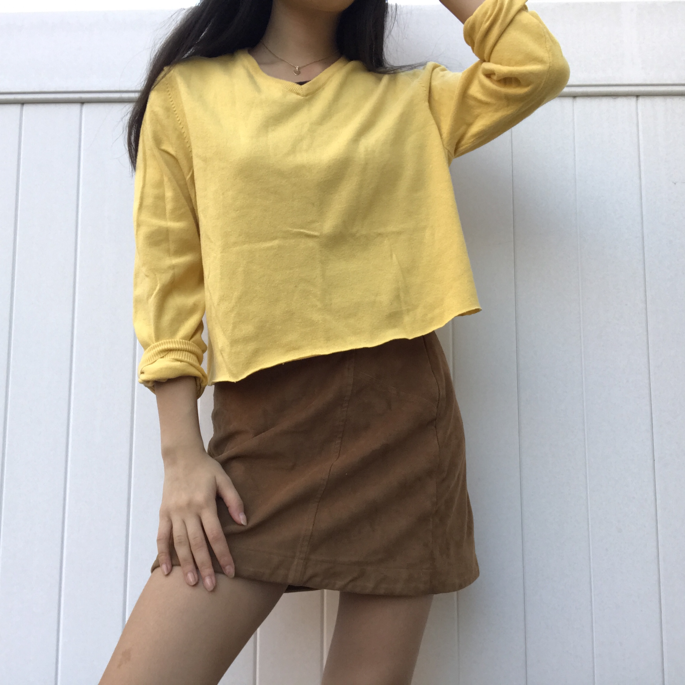 yellow colored long sleeve sweater It is super    - Depop
