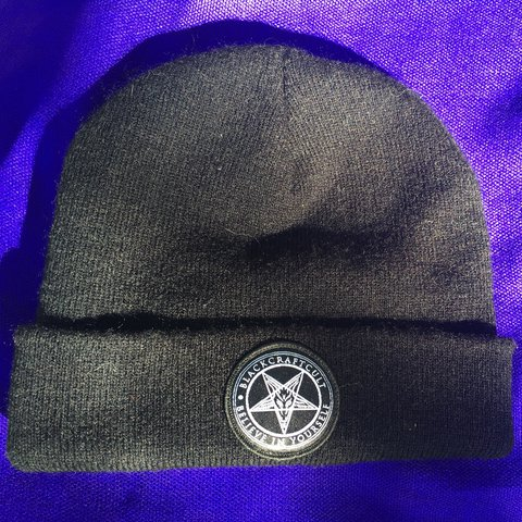 "BlackCraft beanie with Baphomet pentagram   ""Believe In high - Depop 7010ae7673b"