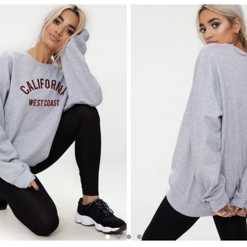 4aa998ce8ca47 @d_rose. 7 months ago. London, United Kingdom. PrettyLittleThing PLT Grey  Marl California Slogan Oversized Sweater