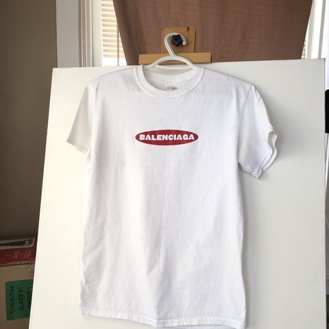 383f34e0 White balenciaga shirt (Not real balenciaga, just a cool - Depop