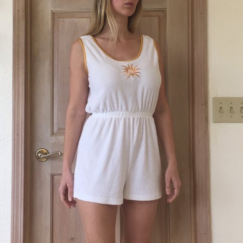 5cf2dc541ad1 Vintage 80 s 90 s terry cloth beach romper. Could be worn as - Depop