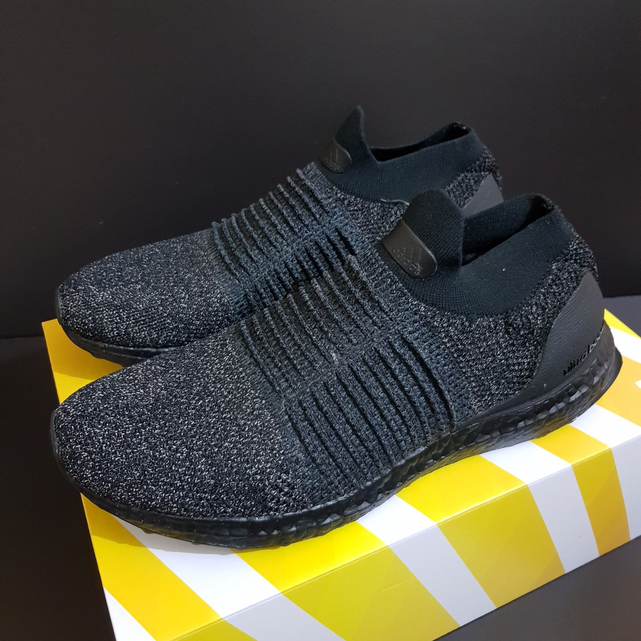 buy popular 639dd 2c1e7 Adidas UltraBOOST Laceless LTD - Triple Black - Size... - Depop