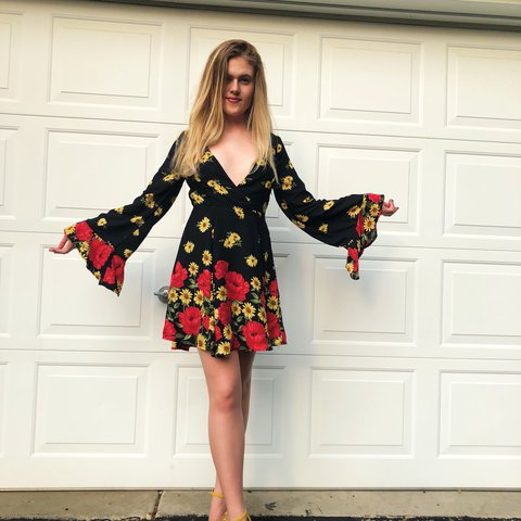 bd93b372c608 🖤🌹🌼 Black flowy dress with yellow sunflowers and roses. - Depop