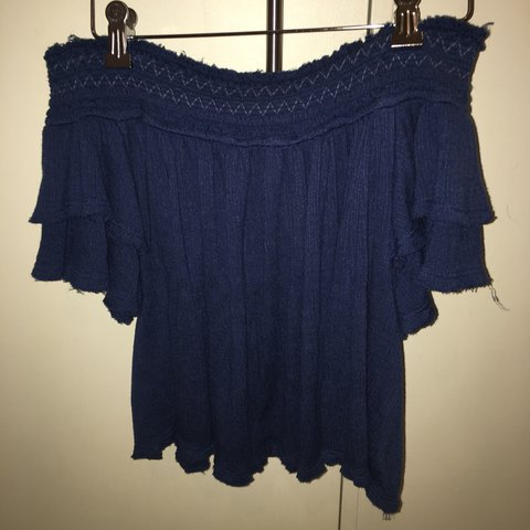 04973bc0ed3c16 Free people size XS navy off the shoulder top//perfect - Depop