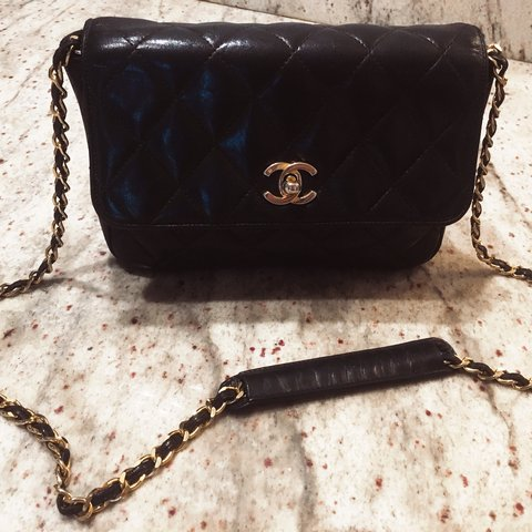 cdac0a7f4e6c Vintage Chanel crossbody bag. Lamb skin leather with gold is - Depop