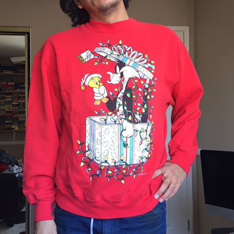 b63287dd @mallgrabbed. yesterday. La Verne, United States. Vintage 1994 Looney tunes ugly  Christmas sweater | size large for men ...