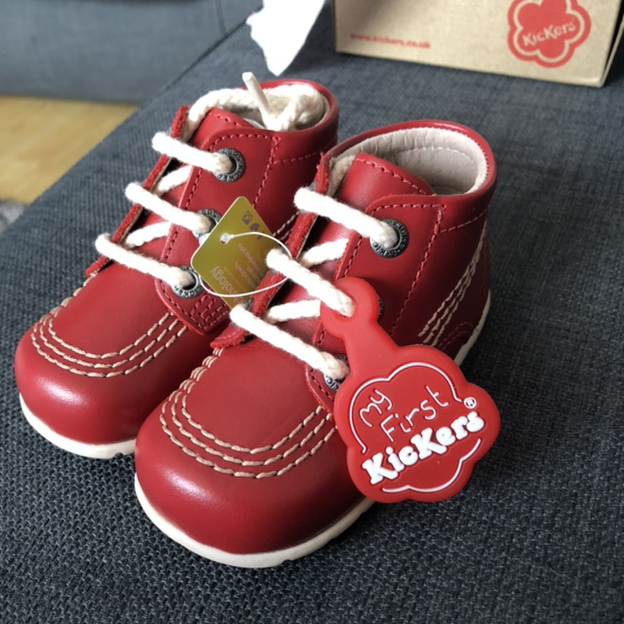 Red leather infant kickers. Size 3